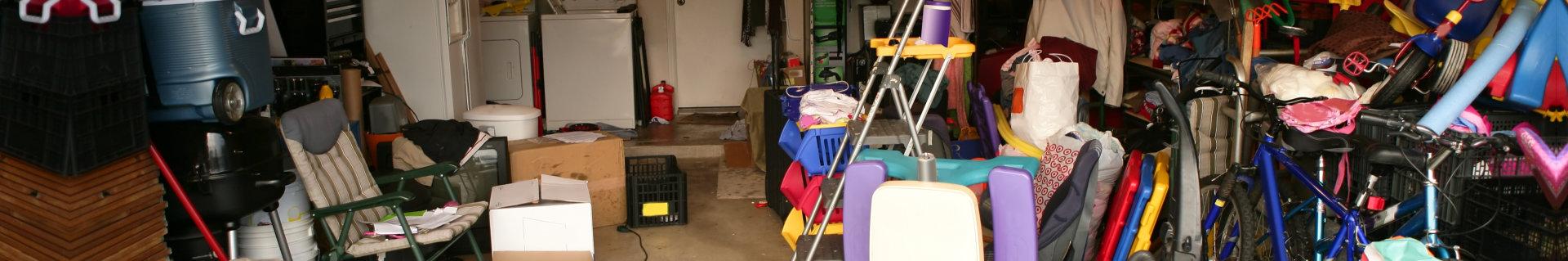 garage of junk items